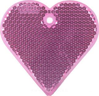 Reflector heart 57x57mm pink